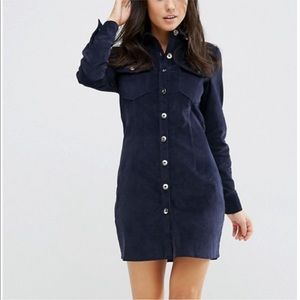 🆕ASOS Corduroy Long Sleeve Button Mini Dress